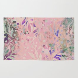 Soft Pink Pastel Floral Watercolor Pattern Rug