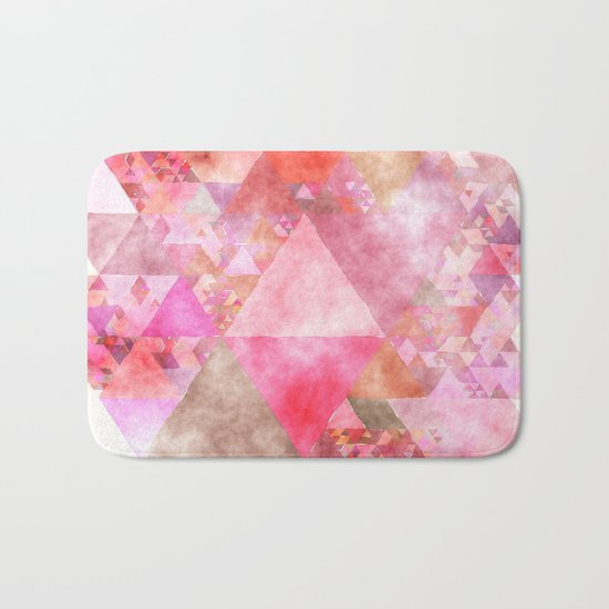 Pink triangles - Abstract elegant watercolor pattern Bath Mat
