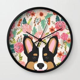 Tricolored Corgi cute corgi florals dog portrait custom dog art pet friendly dog head cell case Wall Clock