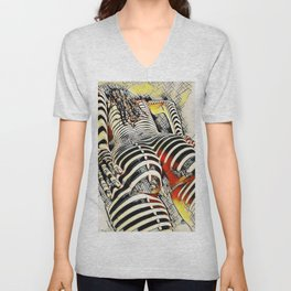 1457s-AK Powerful Nude Woman Kandinsky Style Rear View by Chris Maher Unisex V-Neck