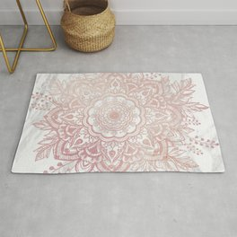 Queen Starring of Mandala-White Marble Rug