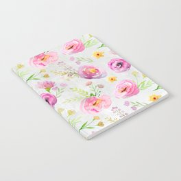 Delicate Poppy Pattern On White Background Notebook