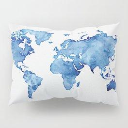 Blue World Map 03 Pillow Sham