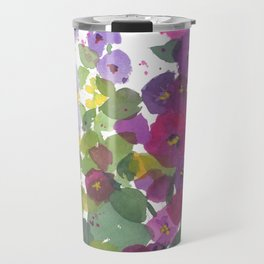 Purple Hollyhock Garden Travel Mug