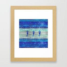 Rustic Navy Blue Coastal Decor Seahorses Framed Art Print