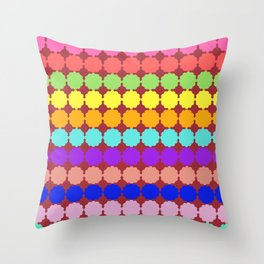 Stylized round multi-colored flowers (red background) Throw Pillow