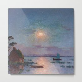 View of the Briere in the Setting Sun - Tropical Impressionist Oil, Seascape by Ferdinand du Puigaudeau Metal Print