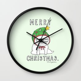 Grumpy Christmas puggy Wall Clock