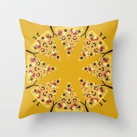 pizza Throw Pillows featuring pizza by ValoValo