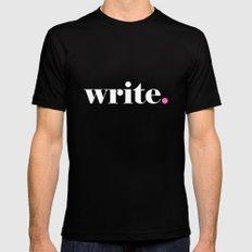 Write, pink Mens Fitted Tee Black MEDIUM