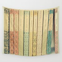 reading Wall Tapestries featuring Old Books by Cassia Beck