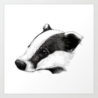 badger Art Prints featuring Badger by Sam Chelton. London based illustrator.