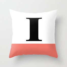 Monogram Letter I-Pantone-Peach Echo Throw Pillow