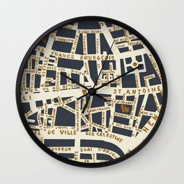 PARIS MAP GREY GOLD Wall Clock