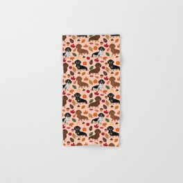 Dachshunds Autumn Cute florals pumpkin pinecones fall dogs cute doxie dog design Hand & Bath Towel
