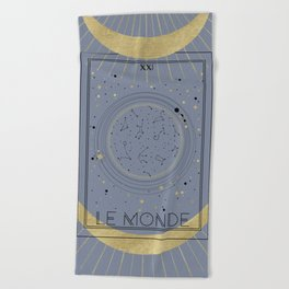 The World or Le Monde Tarot Beach Towel