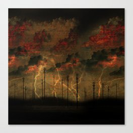 TELEPHONE POLES IN STORM Canvas Print