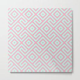 Geometrical pink teal abstract argyle diamond pattern Metal Print
