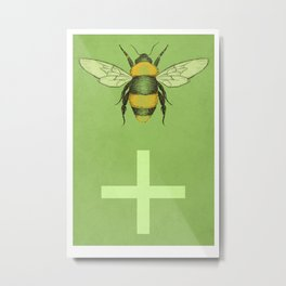 Bee Positive Metal Print