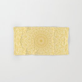 Most Detailed Mandala! Yellow Golden Color Intricate Detail Ethnic Mandalas Zentangle Maze Pattern Hand & Bath Towel