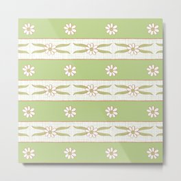 Letucce Green Stripes Metal Print