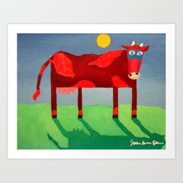Udderly Confused - Funny Cow Art Art Print
