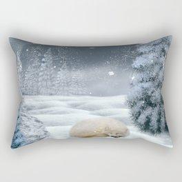 Sleeping polar fox Rectangular Pillow