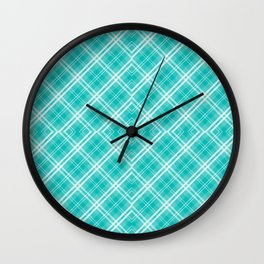 Tiffany Blue & White Diagonal Plaid Scottish Clan McTiffany Wall Clock