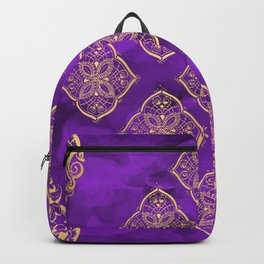Purple Swirls and Gold Oriental Designs Backpack