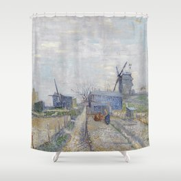Montmartre - Windmills and Allotments by Vincent van Gogh Shower Curtain