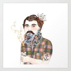 Flock of Beards Art Print
