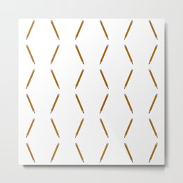 Pen Pattern - yellow Metal Print