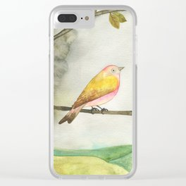 Pink Yellow Bird Clear iPhone Case