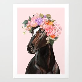 Horse with Flowers Crown in Pink Art Print