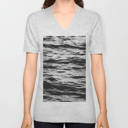 Marble Waters Black and White Unisex V-Neck