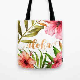 Aloha Watercolor Tropical Hawaiian leaves and flowers Tote Bag