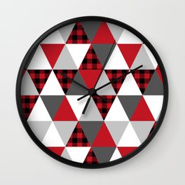Triangles red and black minimal pattern quilt rustic plaid modern decor cabin nature chalet Wall Clock
