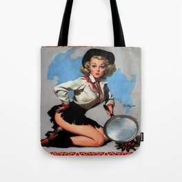 Vintage Cowgirl With Frying Pan Tote Bag