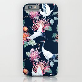 Japanese crane painting vintage illustration pattern iPhone Case