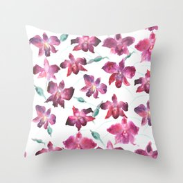 Hand drawn pattern Beautiful watercolor pink Orchid Throw Pillow
