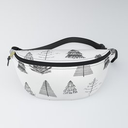 Trees Pattern Black and White Fanny Pack