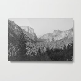 Yosemite Valley in Black and White Metal Print