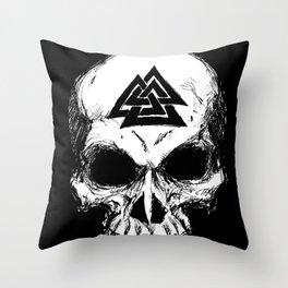 ValknutR Skull Throw Pillow