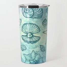 Blue Seashells Travel Mug