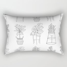Houseplants Pattern Rectangular Pillow