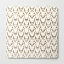 Gold white Art Deco shell pattern Metal Print