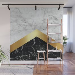Arrows - White Marble, Gold & Black Granite #147 Wall Mural