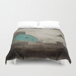 Rustic Teal Barn Country Art A158 Duvet Cover