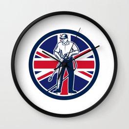 British Pressure Washing Union Jack Flag Circle Retro Wall Clock