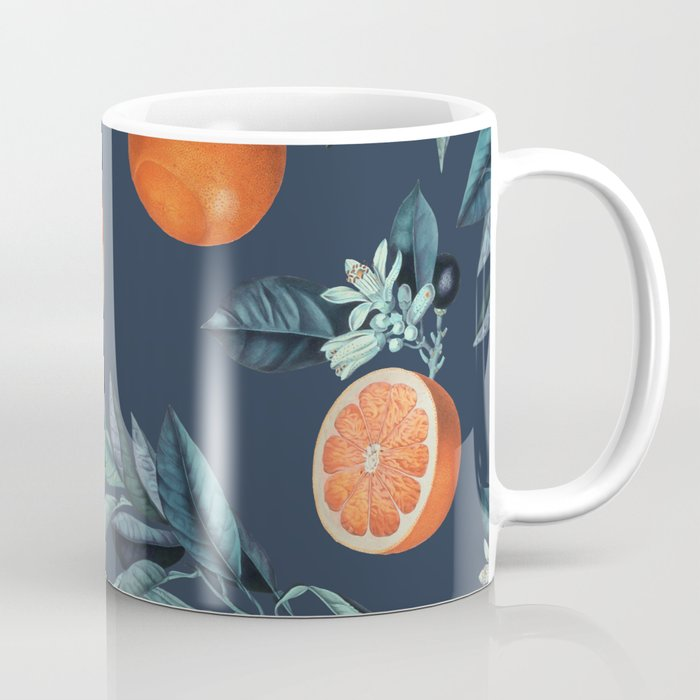 Lemon and Leaf Pattern VI Coffee Mug